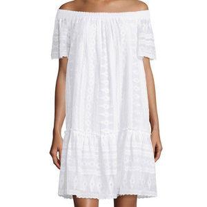 Rebecca Taylor Off Shoulder Embroidery Gauze Dress